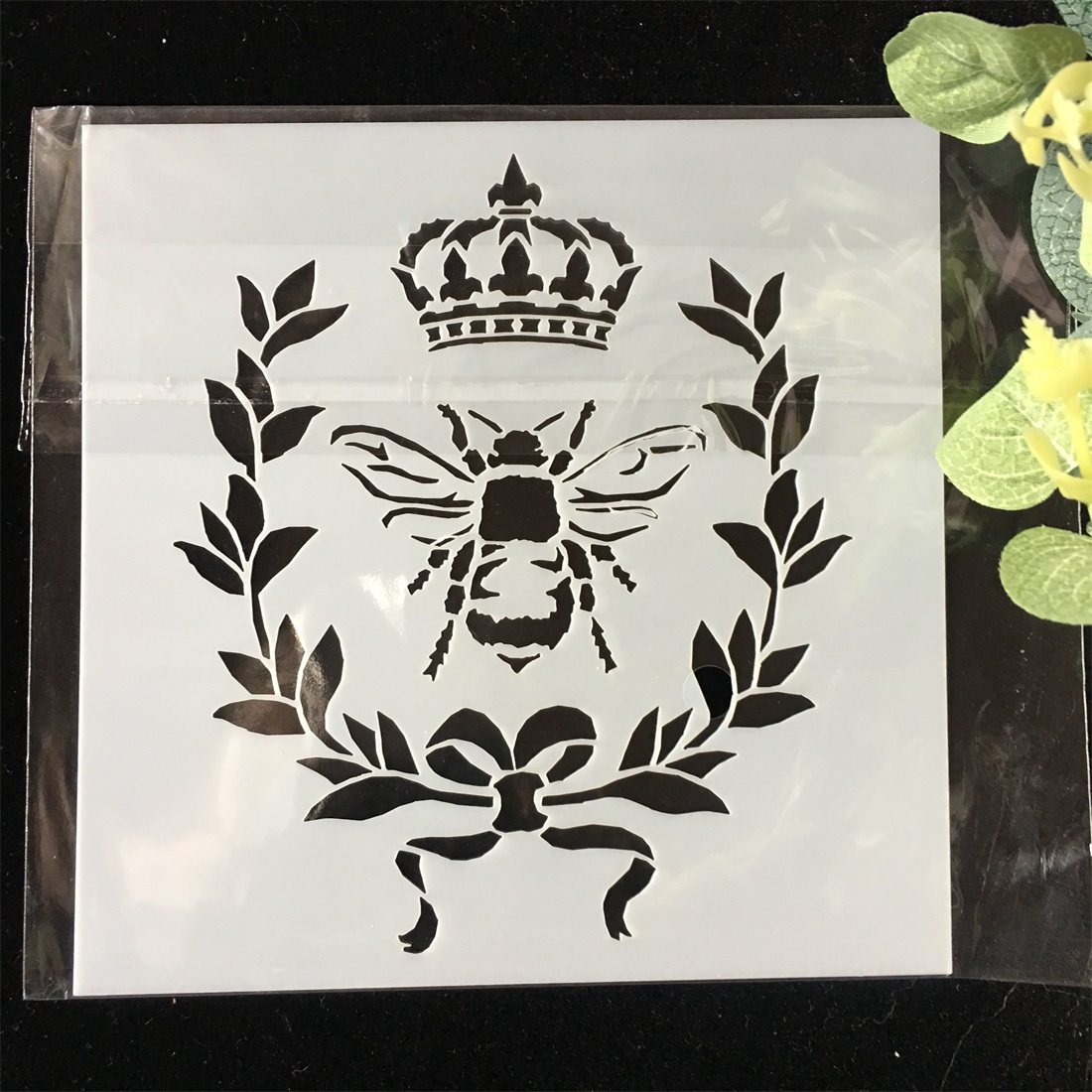 1Pcs Bee Crown DIY Layering Stencils Wall Painting Scrapbook Coloring Embossing Album Decorative Card Template