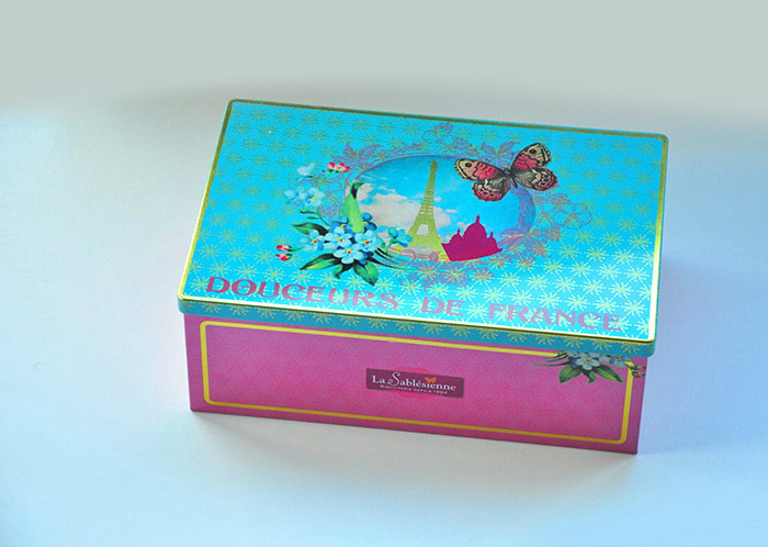 France rectangle storage tin box/gift box/special design container