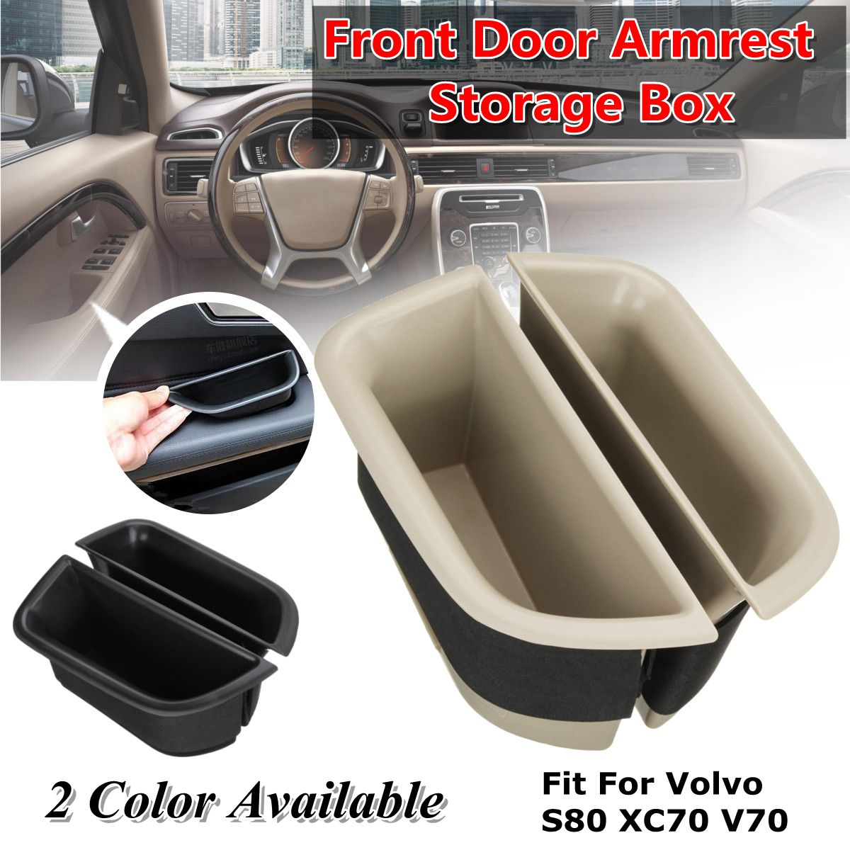 2pcs Car Front Door Armrest Storage Box Container Holder Boxes For Volvo S80 XC70 V70 Car Organizer Accessories Car Styling