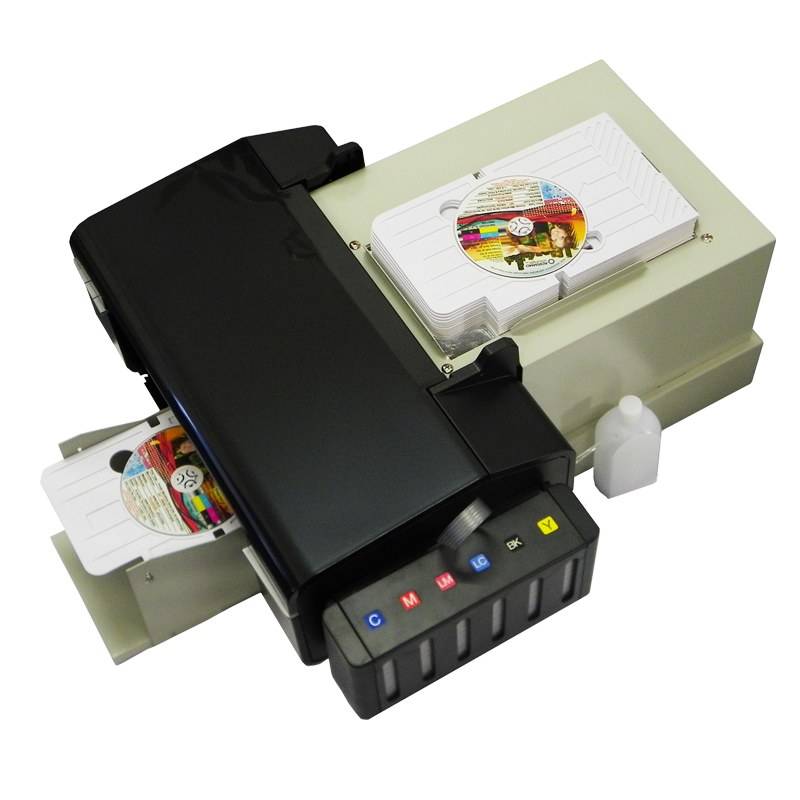 US $622 11 11% OFF|For epson dvd printer for dvd cd printing for epson l800  inkjet pvc printer for video card printing with 51pcs CD/PVC Tray-in