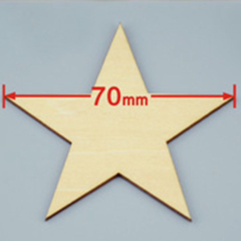 48pcs/lot 70mm Blank pentagram natural plywood Suitable for Christmas party wood wedding teaching of DIY accessories 001001092