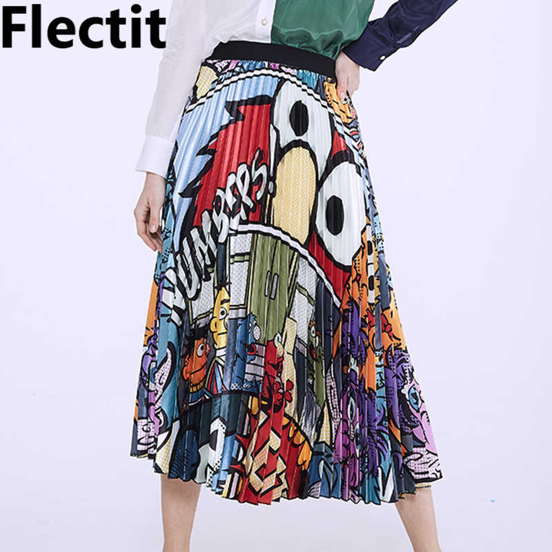 Flectit High Quality Cartoon Pleated Skirt Womens Cute Printed Long Skirt Spring Summer 2019 Street Style Fashion Skirt *