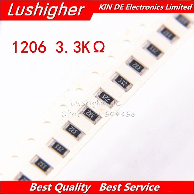 100PCS 1206 SMD Resistor 5% 3.3K Ohm 332 3.3Kohm