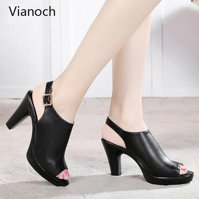 New Fashion Womens Sandals Summer High Heels Peep Toe Over Size 40 41 42 43 aa0031 in High Heels from Shoes