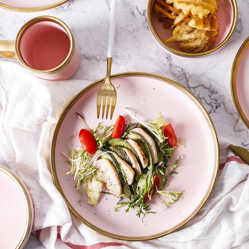 1 stücke Europäischen Stil Matte Pulver Gold Keramik Westlichen Geschirr Reis Teller tasse Steak Gericht Westlichen Gericht Dessert Platte Nordic stil