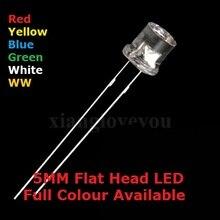 100 шт. 5 мм DIP Прозрачная крышка с плоской головкой светодиодный синий теплый белый высокий яркий F5 красный желтый зеленый качественный шарик светоизлучающий диод