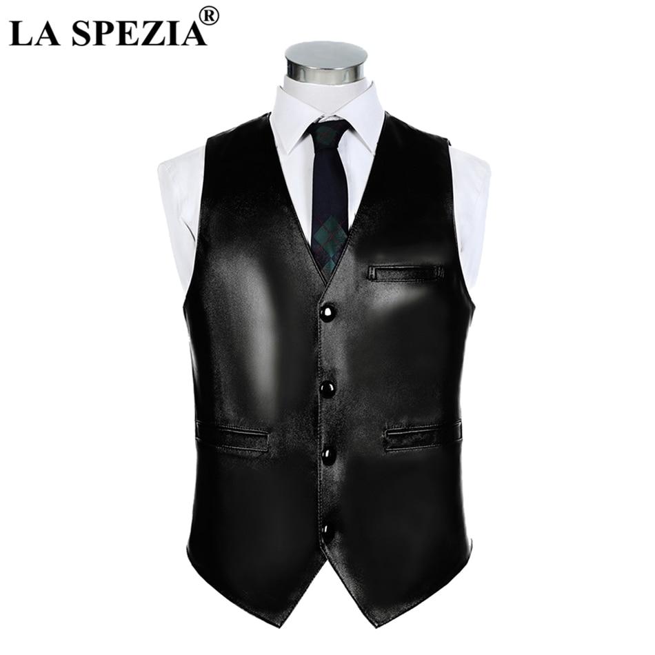 LA SPEZIA Mens Waistcoat Genuine Sheepskin Leather Vest Male Business Luxury Solid Vintage Autumn Plus Size Sleeveless Jackets