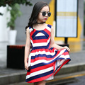 girls Wild striped sleeveless dress 2016 girl princess tutu dresses children clothing Crewneck a lipstick baby girl's clothes