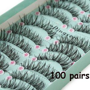 Image 2 - 10 صناديق/100 Pairs طويلة الطبيعية لينة المستوردة الحرير بروتين الألياف الرموش الصناعية سميكة عبر العين لاش تمديد ماكياج