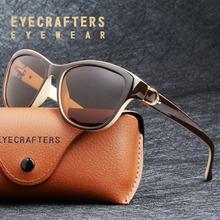 2019 luksusowa marka projekt kocie oko spolaryzowane okulary damskie Lady eleganckie okulary kobieta jazdy okulary óculos De Sol tanie tanio EYECRAFTERS Kobiety Z tworzywa sztucznego Cat eye UV400 Dla dorosłych EC6083 Poliwęglan 55mm 48mm