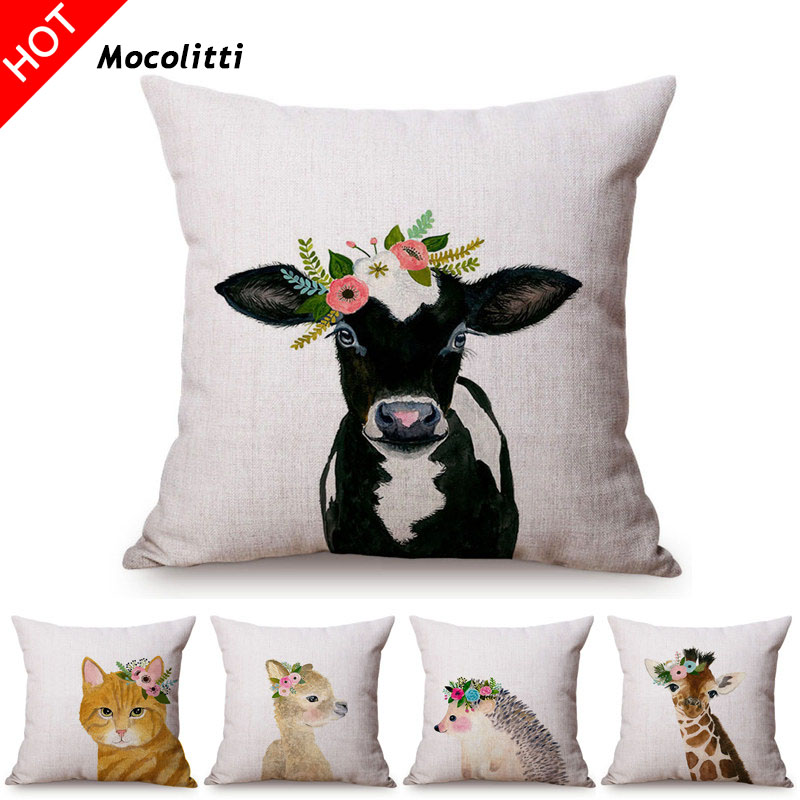 Cute Watercolor Painting Cat Bunny Cattle Kid s Nursery Art Room Decorative Throw Pillow Case Cotton