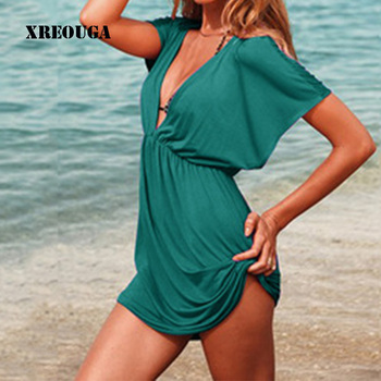 European Style Robe De Plage Summer Women Elastic Ice Swimwear Deep V-Neck Solid Short Sleeves Beach Cover Up 1