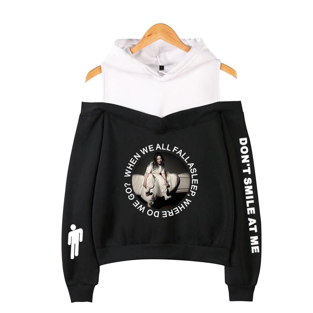 2019 Billie Eilish Al Largo Della Spalla Felpe Felpa Hip Hop Harajuku Kawaii Felpa Con Cappuccio Carino Coreano Streetwear Moda Sexy Con Cappuccio Acquista Sempre Bene