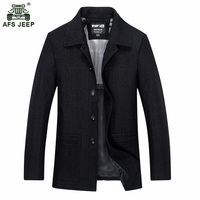 Autumn medium long fashion comfortable jacket with single breasted and lapel for the middle aged person 120zr