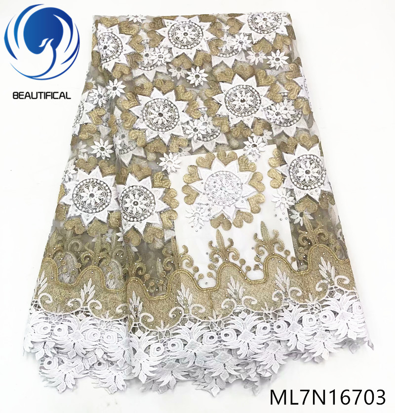 Beautifical nigerian lace fabrics High quality french net lace embroidery fabric with stones 5yards lace guipure lace ML7N167Beautifical nigerian lace fabrics High quality french net lace embroidery fabric with stones 5yards lace guipure lace ML7N167