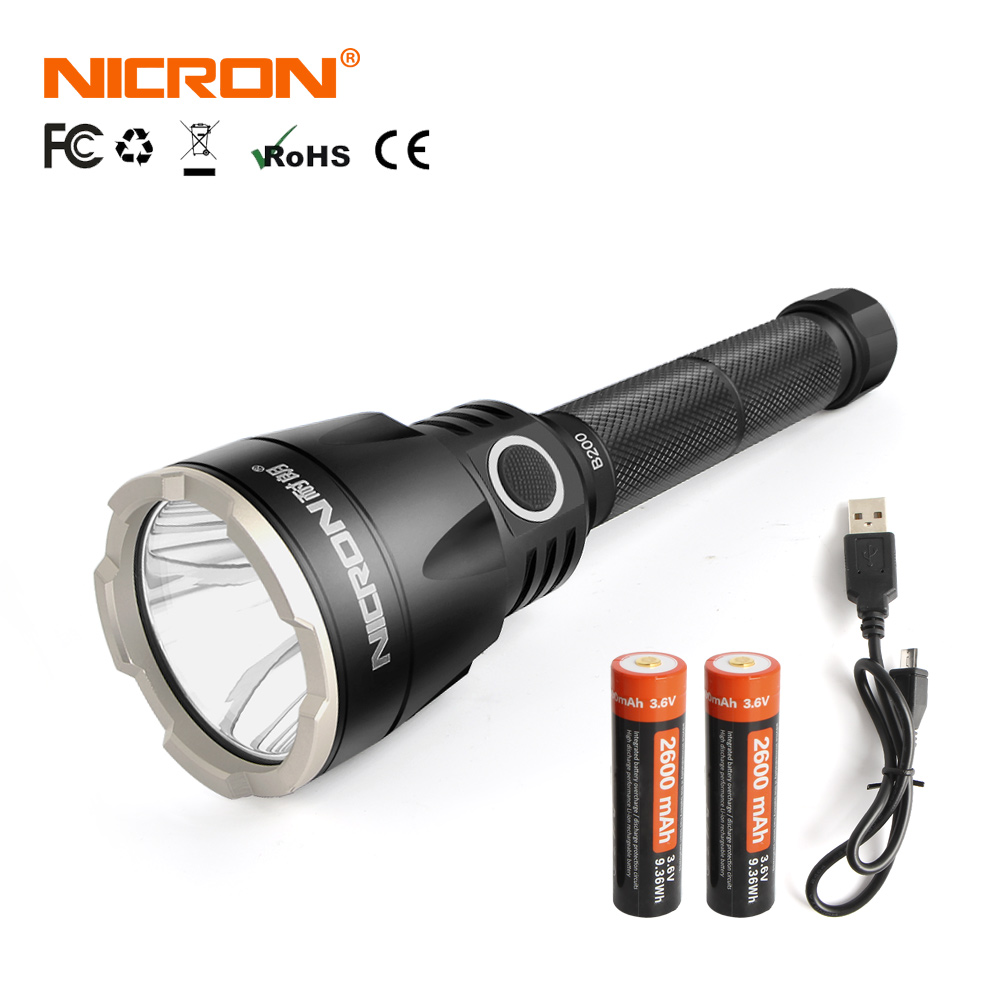 NICRON Ultra Bright Tactical Flashlight 1000LM Far Distance 536m 2x 18650 LED Lighting Torch Waterproof IP68 For Search Rescue