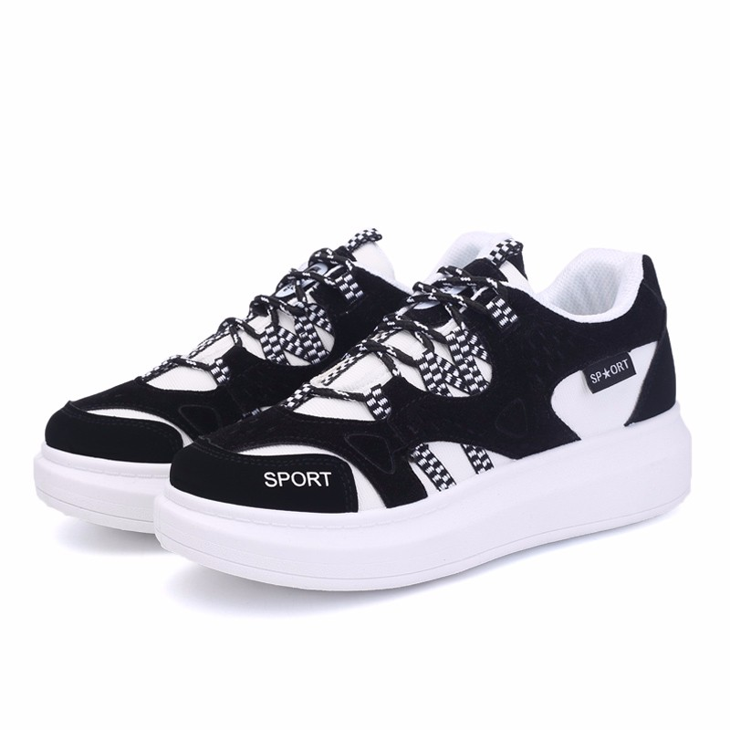 KUYUPP 2016 Autumn Fashion Women Flat Platform Shoes Sport Casual Shoes For Mens Trainers Lace Up Low Top Shoes Breathable YD111 (44)