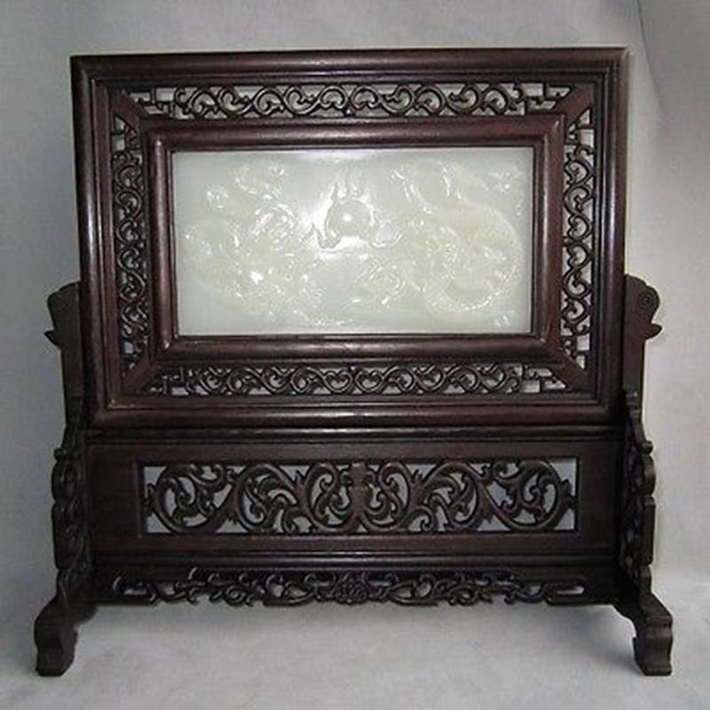 FINE CHINESE WOOD INLAID AFGHANISTAN JADE TWO DRAGONS SCREEN