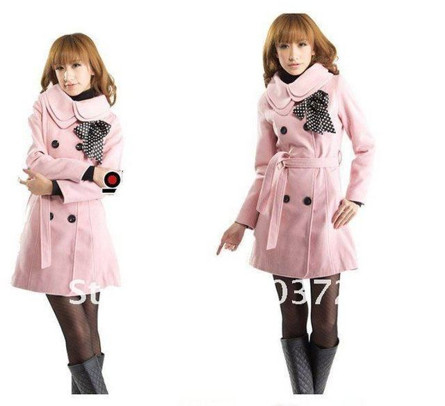 7Colors Free shipping new fashion Women wool coat Slim fit trench coat winter lady clothes outerwear double breasted long coat