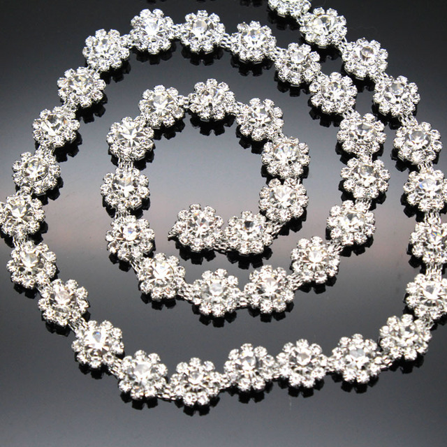 1 yard AAA-Grade Flower Crystal Clear Round Glass Rhinestone Cup Chain  Silver Base Dress Belt Trim Applique Sew on Garment 03abfb6e69c1