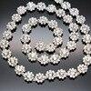 1 yard AAA-Grade Flower Crystal Clear Round Glass Rhinestone Cup Chain Silver Base Dress Belt Trim Applique Sew on Garment