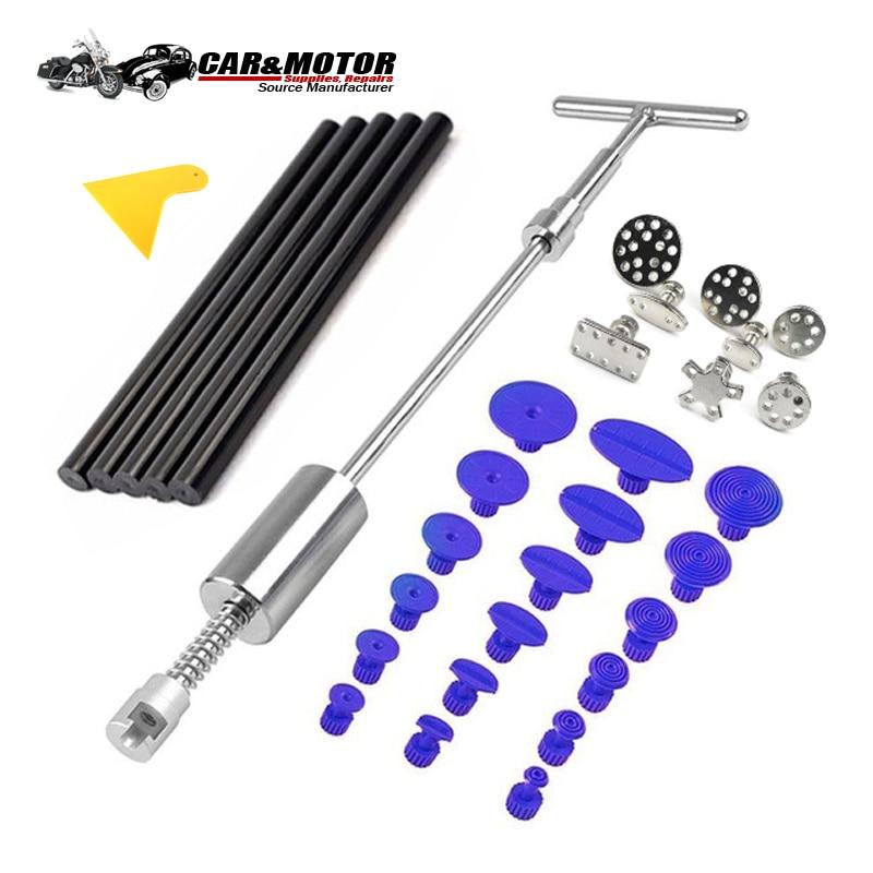 Auto PDR Tools Paintless Dent Repair Puller Kit Dent Removal Slide Hammer Glue Sticks Reverse Hammer Glue Tabs Hail Damage