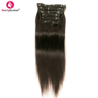 Aphro Hair Brazilian Straight Clip In Hair Extensions 24inch 100% Real Human Hair Clip Ins 120g/Lot Natural Black #1B Non Remy