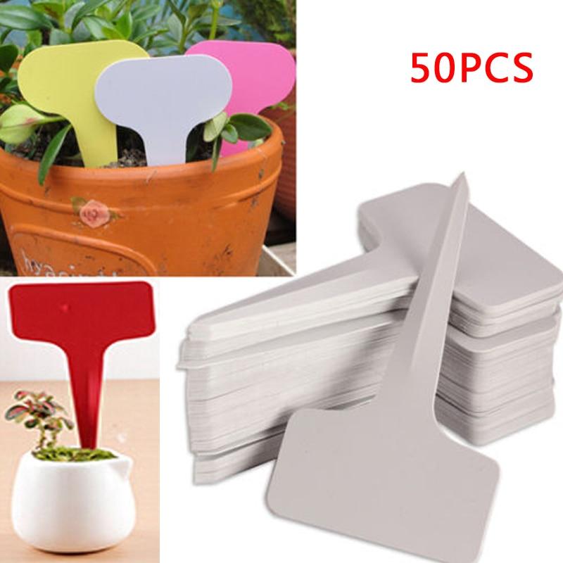50pcs 6x10cm White Plastic PVC Plant T-type Tags Markers Nursery Garden Labels Nursery Pots Garden Decoration Seedling Tray