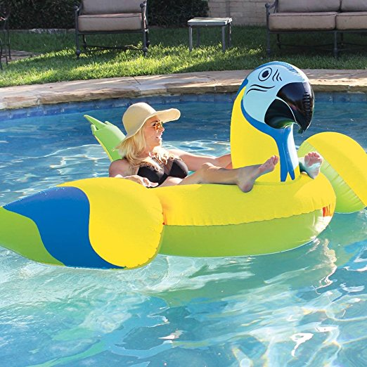 2018 Newest Giant Yellow Parrot Pool Float Red Bird Animal Water Lounger Beach Summer Party Fun Toys Swimming Ring boia piscina