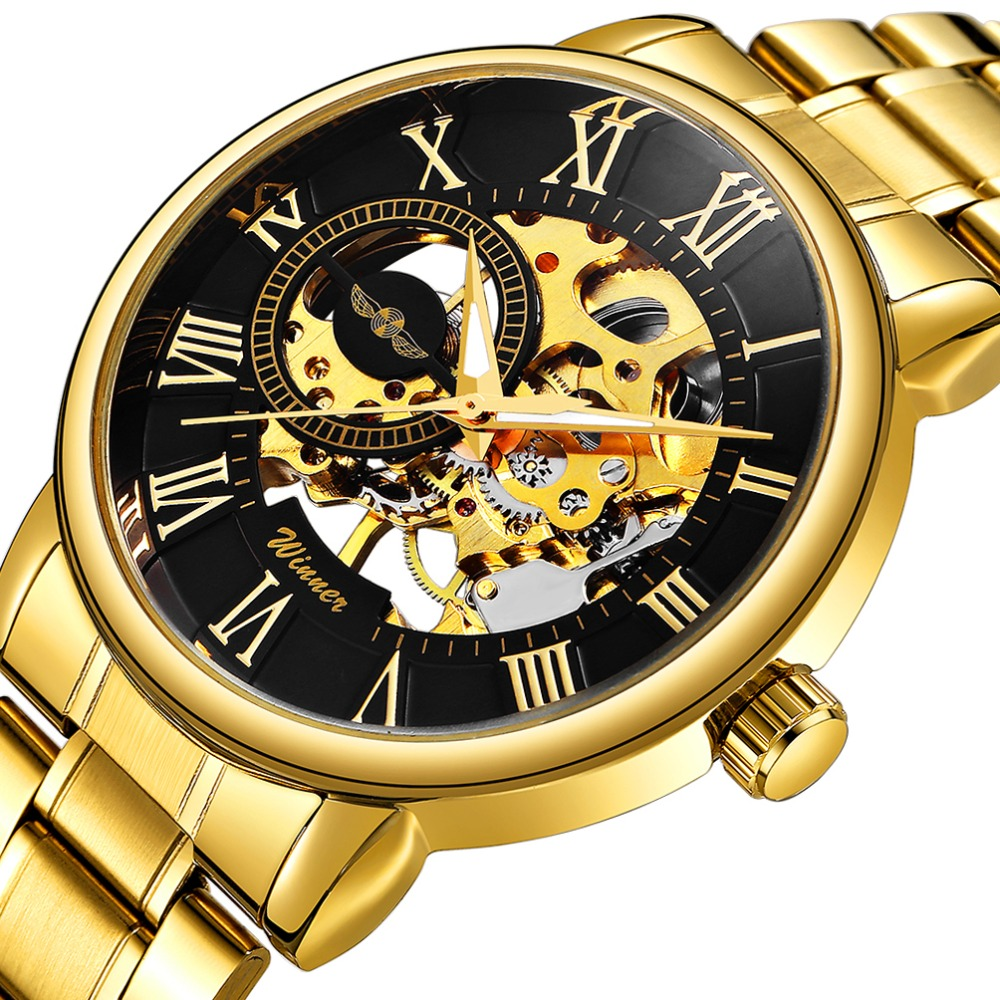 WINNER Golden Top Brand Luxury Mechanical Watch Men Stainless Steel Strap Skeleton Dial Fashion Business Wrist Watches For Man winner mens watches top brand luxury leather strap skeleton skull auto mechanical fashion steampunk wrist watch men gift box
