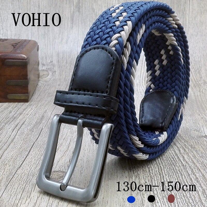 VOHIO 2017 Mens Canvas Belt Plus Size For Jeans Men Belts Long Black blue Male Wide Waist Belt 130cm 150cm Elastic elasticates