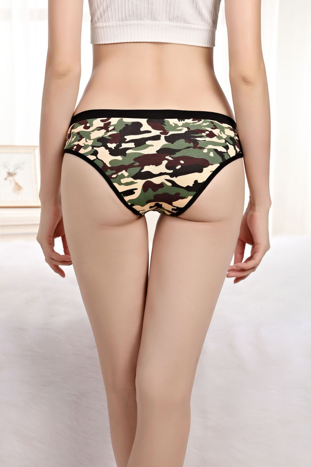 Hot sell 5pcs/lot  Fashionable sexy camouflage print cotton girl underwear spot women's briefs lady panties 89265
