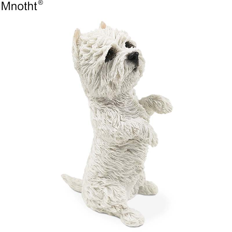 Mnotht 1/6 West Highland Terrier Animal Dog Standing Posture Simulation Model Scene Accessory for Action Figure Collection Gift