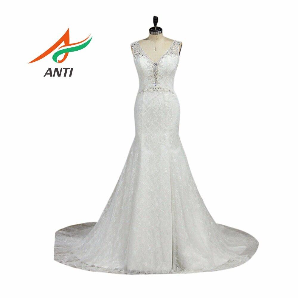 ANTI razkošna sirena 2018 poročne obleke V-Neck mehke čipke Beading kristali Celebrity Vestido De Noiva Golden poročne obleke