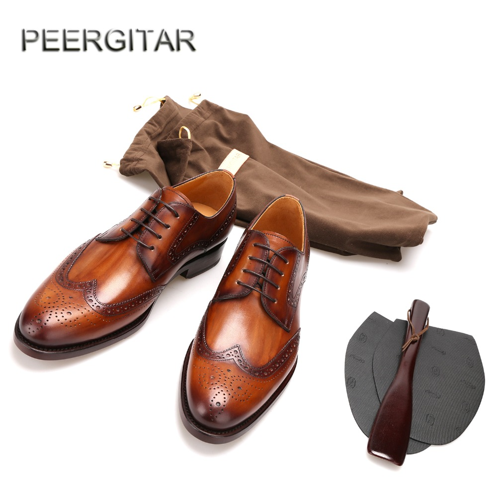 2017 Top Italian handmade Goodyear craft Genuine leather shoes Bullock carved men Oxford shoes with Genuine leather Outsole goodyear leather shoes handmade custom business men leather italian brand new men dress shoes bespoke calfskin leather outsole