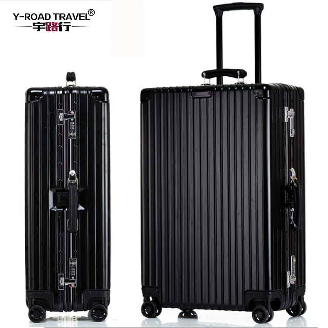 "Aluminum frame+PC Vintage Suitcase With Wheels,20""24""26""29""inch travel trolley case hardside Rolling Luggage,TSA Lock"