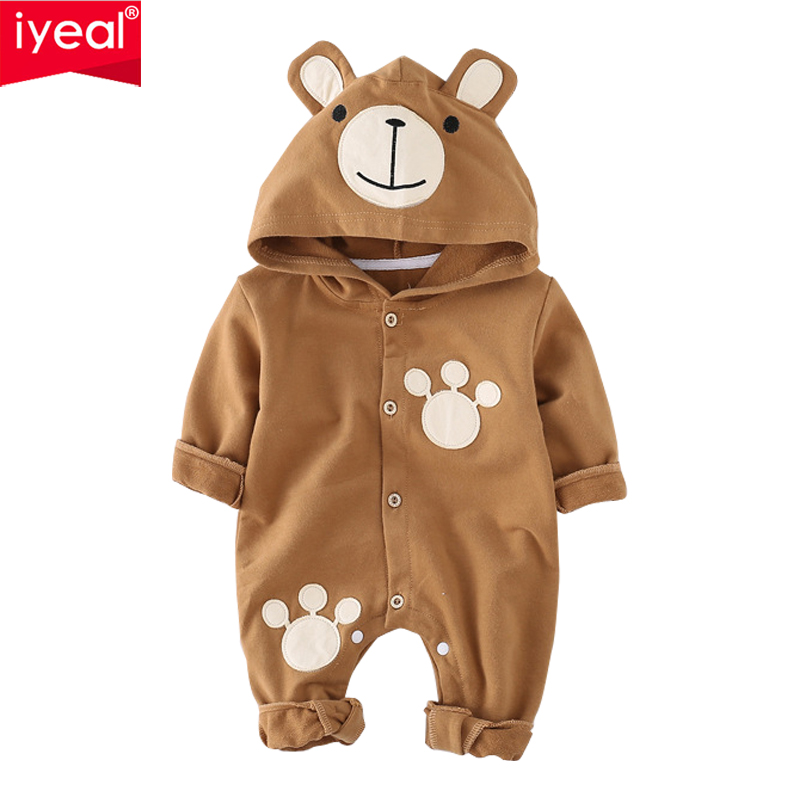 IYEAL New 2018 Newborn Infant Baby Boy Rompers Cute Bear Hooded Jumpsuit Cotton Long Sleeve Baby Girl Clothes Outfits for 0-12M cute newborn infant baby girl boy long sleeve top romper pants 3pcs suit outfits set clothes