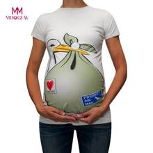 MUQGEW Breastfeeding Clothes Maternity Cute Funny Pattern Print Short Sleeve Casual T-shirt Pregnant Tops Baby Is Coming Tshirt(China)