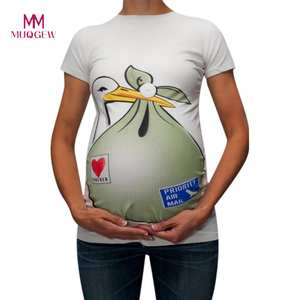MUQGEW Breastfeeding T-Shirt Pregnant-Tops Funny Pattern-Print Baby Coming Short-Sleeve