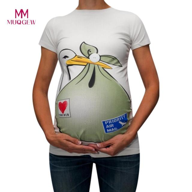 MUQGEW Breastfeeding Clothes Maternity Cute Funny Pattern Print Short Sleeve Casual T-shirt Pregnant Tops Baby Is Coming Tshirt