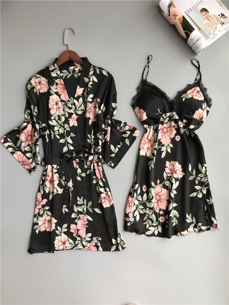 Women Sexy Lace Silk Robe & Gown Set Sleep Dress+Bathrobe Two Piece Floral Robe Bridesmaid Wedding Sleepwear Femme Home Clothing