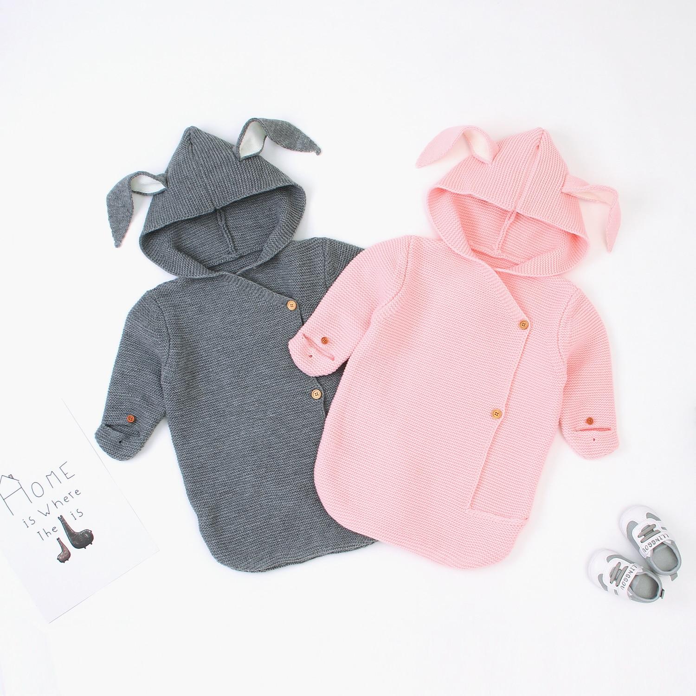 Cute Rabbit Envelope For Newborns Knitted Sleeping Bags Spring Autumn Winter Infant Swaddle Wrap Blanket Kids Stroller Sleepsack