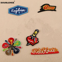 DOUBLEHEE Hot Music Guitar Patch Embroidered Iron On PatchesBeauty Embroidery DIY Coat Shoes Accessories