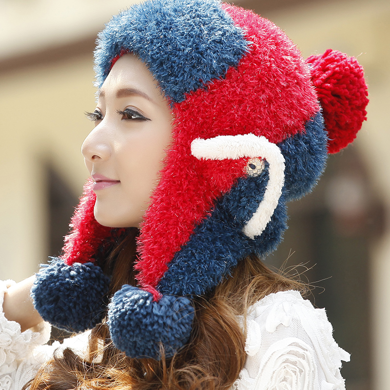 BomHCS Winter Soft Women's Thick Warm Contrast Color Mosaic Cable Handmade Ear Muff Knitted Beanie Lei Feng Hat Cap bomhcs korean cute autumn winter warm color mosaic knitted hat ear muff 100% handmade women beanie cap