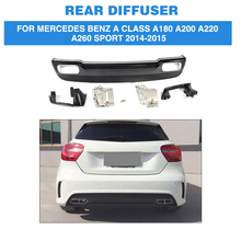 PP Car Rear Bumper Diffuser Lip With Exhaust Muffler For Mercedes Benz A Class A180 A200 A220 A260 Sport Hatchback 4 Door 14-15