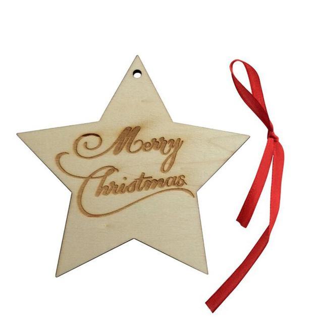 Stella Di Natale Legno.Us 1 63 41 Di Sconto Buon Natale Legno Forma Di Stella Abbellimenti Pianura Artigianato Del Legno Albero Di Natale Appeso Ornamento Tagliato Al