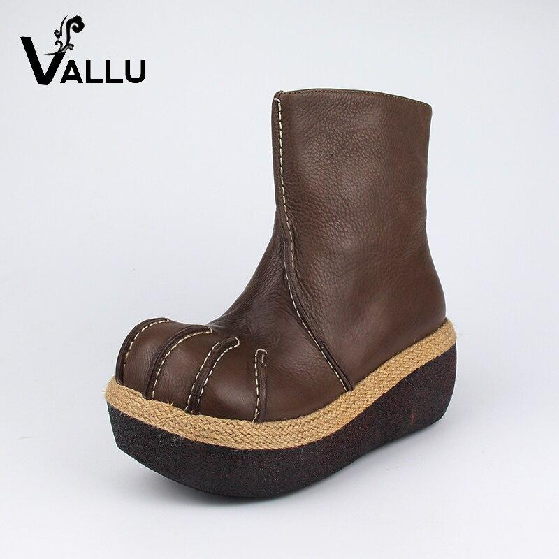 Zapatos de cuero mujer 2018 plataforma tobillo botas mujeres cuero genuino ronda Toes de tacón estilo Retro sólido