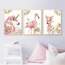 Cartoon Unicorn Deer Wall Art Canvas Painting Animals Flowers Nordic Poster Pictures For Living Room Unframed