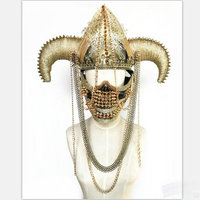 buffalo headpiece for cosplay hair accessories with iron chain macrame mask party halloween pageant ox horn headband