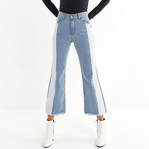 2019 Hit Color Jeans Flare Jeans Mid Waist Contrast Color Flare Jeans Woman Denim Pants Plus Size Women Jean Overalls Feminino